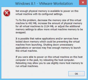 vmware error msg